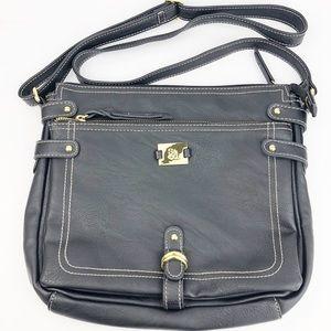 Style&Co Black Leather crossbody w/Stitching